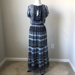 Flutter sleeve printed woven maxi dress